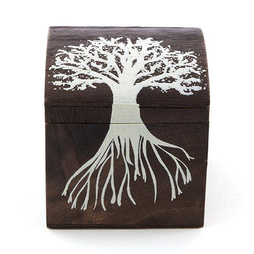 "Miniature Wooden Box with Lid - exclusive ""Tree Design"" - Weddingstar"