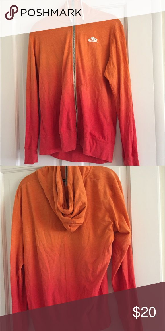 "Women's Nike Vintage Coral Ombré Zip Up Size XL Women's Nike Vintage Coral Ombré Zip Up Size XL  • noticeable piling but makes sweatshirt look ""worn"" • No discoloration or tears • Cotton and polyester • Coral bottom orange top Nike Tops Sweatshirts & Hoodies"