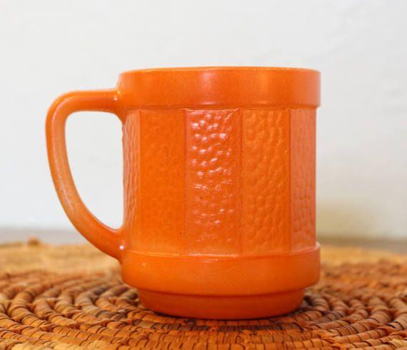 Vintage Orange Federal Glass Coffee Mug / Federal Glass Pebble