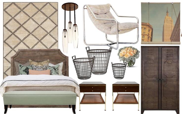 Feminine Rustic Industrial Bedroom Idea Board -Brendon Frasier    Features the Caroline Bench by Bjork Studio