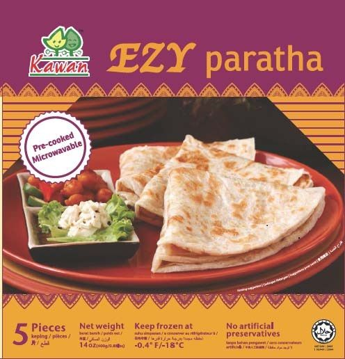 Kawan EZY Paratha, pre-cooked and microwavable Indian-style flatbread