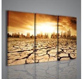 Una magnifica stampa su tela creata con una composizione di paesaggi contrastanti: da un lato in primo piano un terreno arido con le zolle divelte dalla siccità, mentre sullo sfondo è posta una metropoli. Un quadro che si adatta ad ogni tipo di arredamento moderno.
