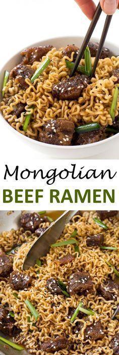 Mongolian Beef Ramen. Just like PF Changs Mongolian Beef but with Ramen Noodles…