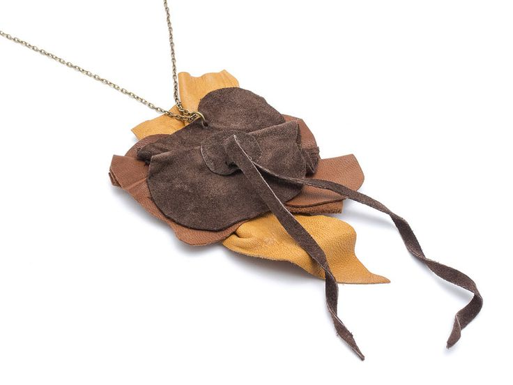 Long Necklaces – LEATHER PENDANT Ochre – a unique product by AB-art-studio on DaWanda