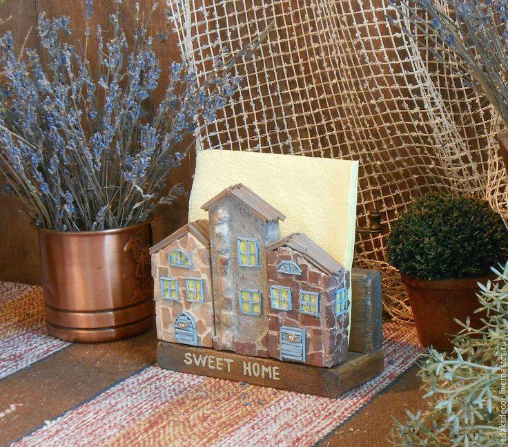 """Купить Подставка для салфеток """"Домик в Тоскане"""" - голубой, подставка для салфеток, подставка для бумаг, подставка для кухни"""