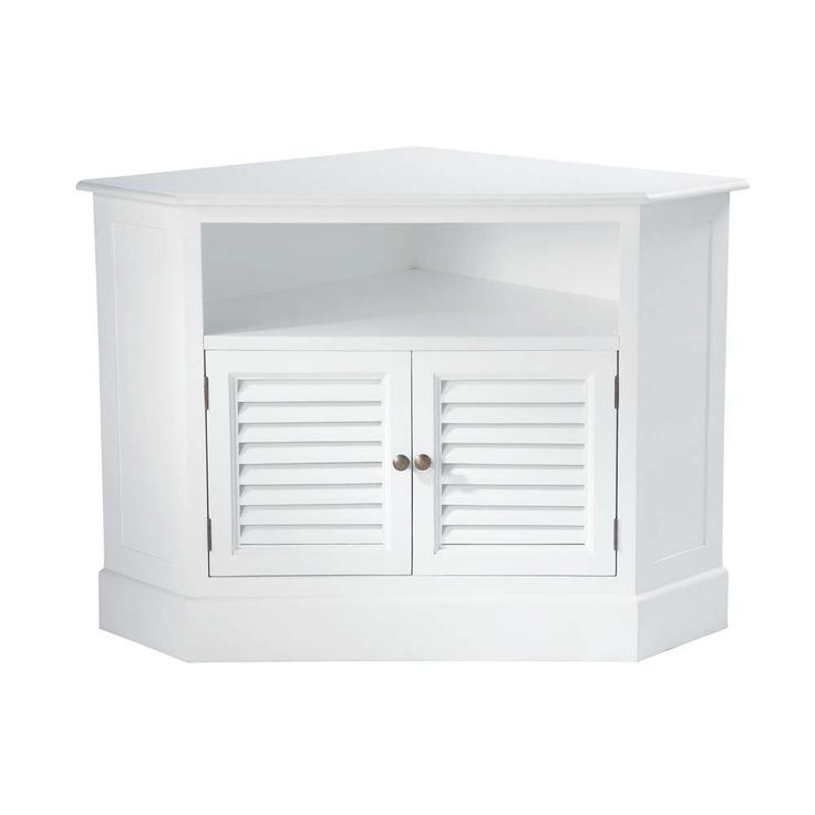 Wooden corner TV unit in white W 75cm
