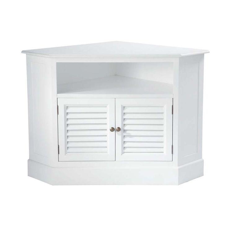Wooden corner TV unit in white W 75cm