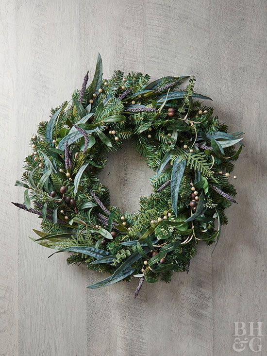 If you like to decorate your home in frosty blues and deep plum colors in the winter, then this wreath was made for you.