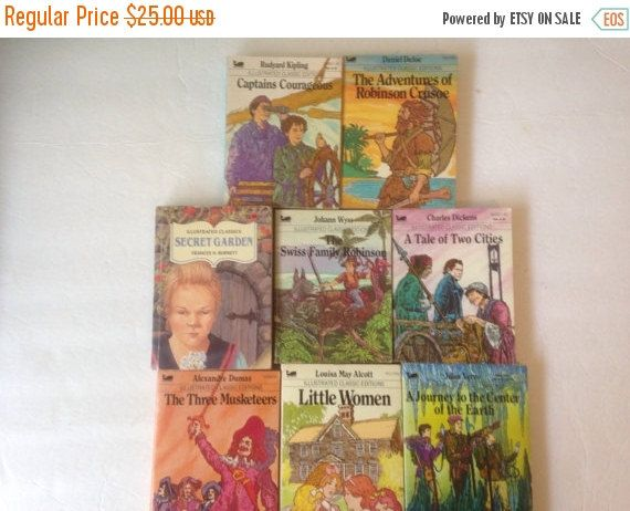 Illustrated Classics - Set of 8-Robinson Crusoe, Three Musketeers, Little Women, Journey to the Center of the Earth, Secret Garden by CellarDeals on Etsy