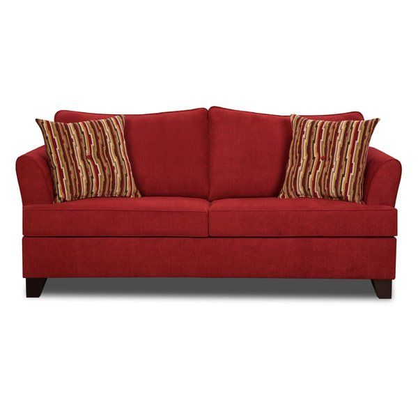 Transitional Red Barrel Studio two over two full sleeper with removable box seat cushions, semi attached back cushions, flared arms, covered in a soft performance cover. Accent with two colorful toss pillows along with a full innerspring mattress.