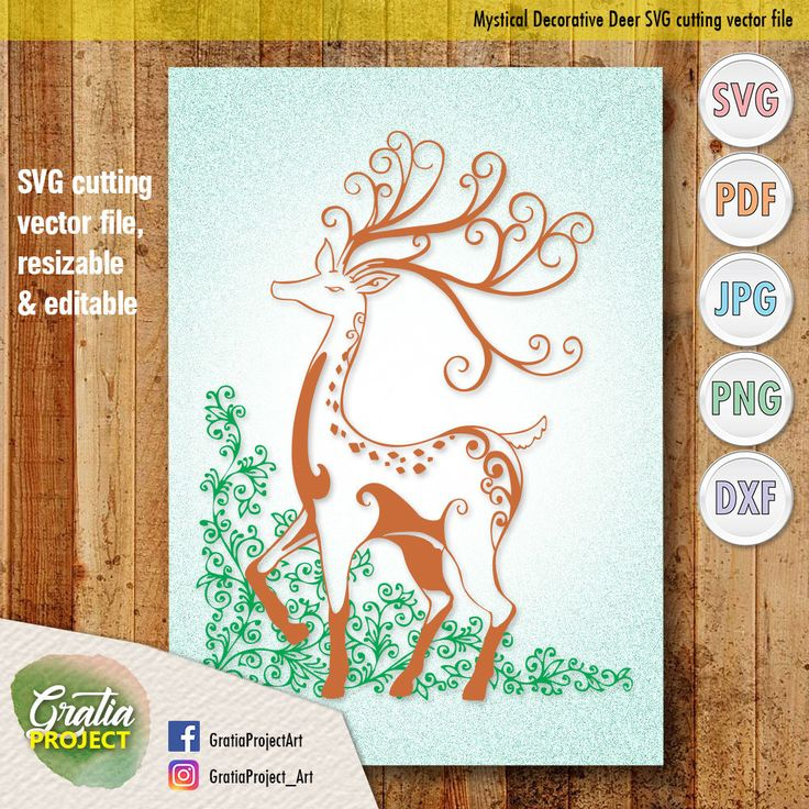 Mystical Decorative Deer with floral ornaments SVG Cutting vector file - digital clip art by GratiaProject on Etsy https://www.etsy.com/listing/573725234/mystical-decorative-deer-with-floral