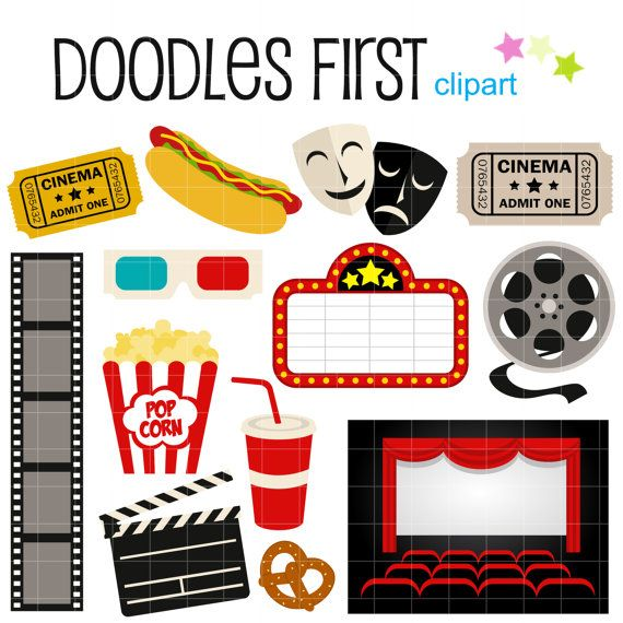 This clipart set includes the 13 following elements. 1 x 3D Glasses 1 x Clapboard 1 x Comedy and Tragedy Mask 1 x Film Reel 1 x Film 1 x Hotdog 1 x Marquee 1 x Movie Theater 2 x Movie Ticket 1 x Popcorn 1 x Pretzel 1 x Soda Each clipart illustration is included separately as a high resolution PNG file with a transparent background, a JPG with a white background and as as editable SVG file. Each object is provided at a sizes of 5.5 Inches on its longest side. The PNG ma...