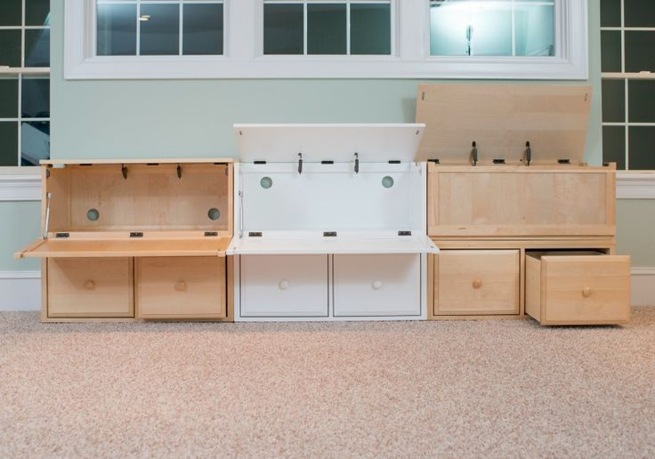 Create a toy storage wall using Maxtrix toy chests, cubes, hutches and boxes.