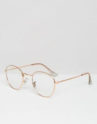 ASOS – Geeky – Runde Brille mit farblosen Glä…