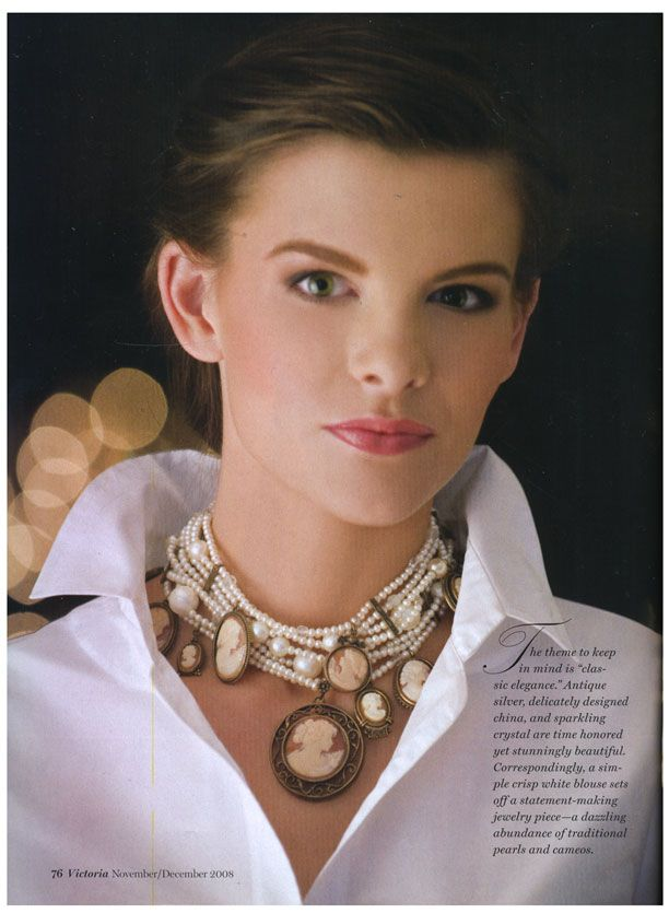 """Victoria Magazine 2008. Love the necklace.Extasia.com. Guess they knew that Cameos wouldn't be """"out of style"""" for long."""