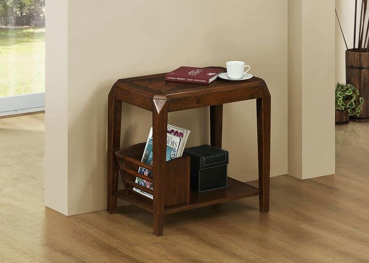 In love with this classic accent table with magazine rack for Susie!