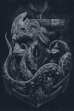 /// Teschio - Illustrato il LOCKER - stampa personalizzata, polpo, cranio, ancoraggio, arte in bianco e nero, arte, stampe d'arte, arte della parete, tentacoli, Nautica