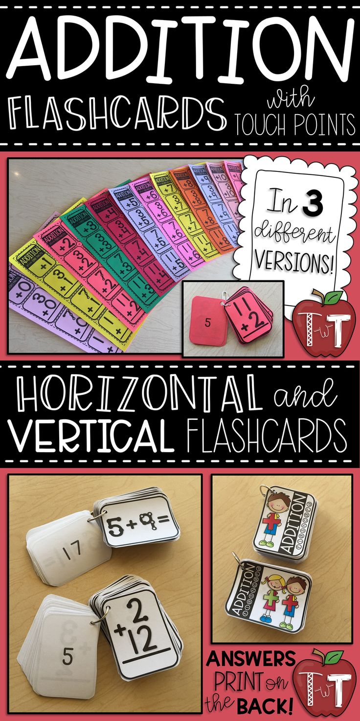 Printable Addition Flashcards with facts 0+0 through 12+12 with Touch Math dots!  Print horizontal and/or vertical addition flashcards. #addition #factfluency #additionflashcards #math #mathfactfluency #mathfacts