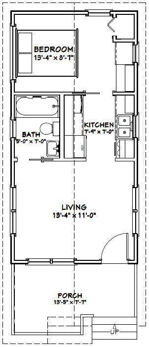 14x28 Tiny House -- #14X28H1 -- 391 sq ft - Excellent Floor Plans