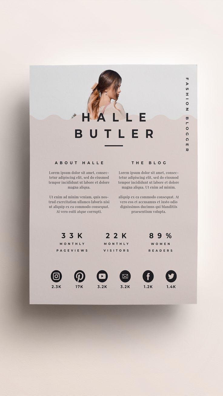 Media Kit And Price List For Bloggers And Influencers Editable Photoshop Template Rate Sheet Modele De Cv Creatif Design Cv Creatif Mise En Page Cv