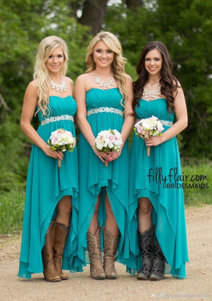 Modest Western Country Bridesmaid Dresses 2016 Cheap Under 100 Turquoise High Low Chiffon Wedding Party Guest Gowns Plus Size Boho Maternity