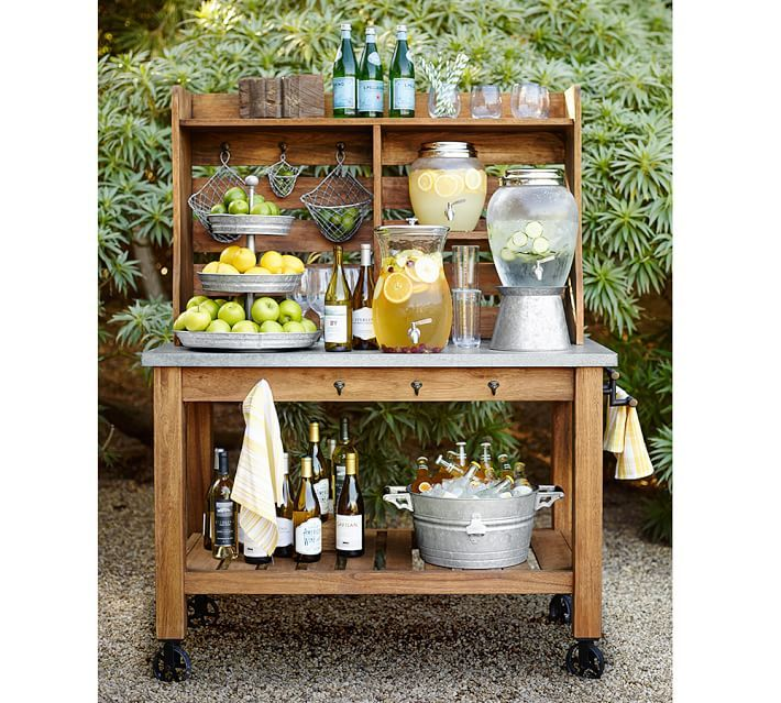Potting Bench Style Hutch used for Outdoor Living Refreshment Center :: Pottery Barn . Zinc-Top Island & Hutch