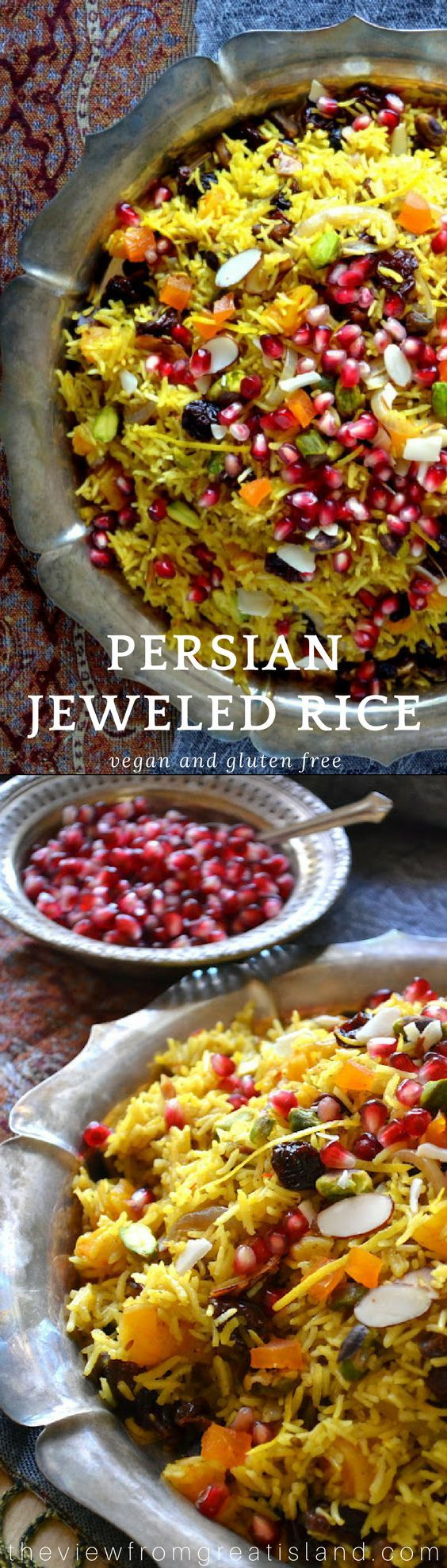 Persian Jeweled Rice is a spectacular rice pilaf topped with colorful gem-like fruits and nuts ~ this popular Middle Eastern wedding dish is a celebration in itself.  It's gluten free, vegan, and incredibly delicious! #holidaysidedish #vegan #glutenfree #vegetarian #persian #iranian #MiddleEastern #weddingfood #pomegranates #saffron #pilaf #rice #holidays #Christmas #thanksgiving #Thanksgivingsidedish