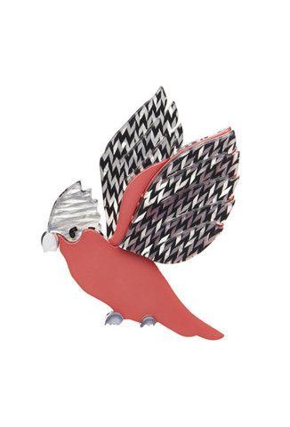 Erstwilder Winter 15 Gilberta Galah Resin Bird Brooch