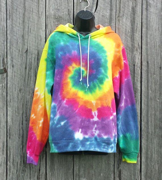 Adult Rainbow Tie Dye Hoodie, Available Adult Sizes S M L XL, Hippie Sweatshirt, Festival Hoodie