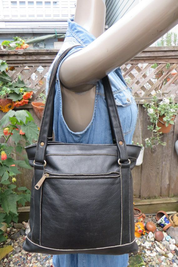 Vintage 1970s Thick Leather Tote Bag Purse Satchel Handbag Hippie Boho Black Basic Tote Bag