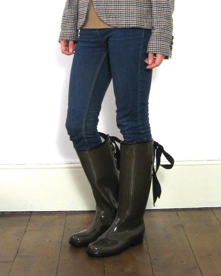 Dav Vegan Lace Up Victoria Rain Boot Rainboots Rain