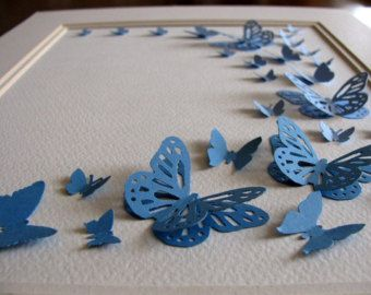 11x14 Pink Teal Aqua Shades 3D Butterfly Art. Paper