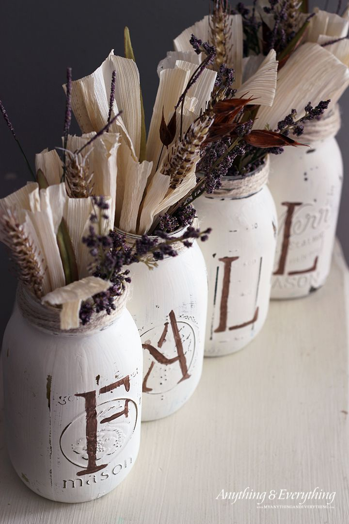 DIY painted mason jar vases for fall