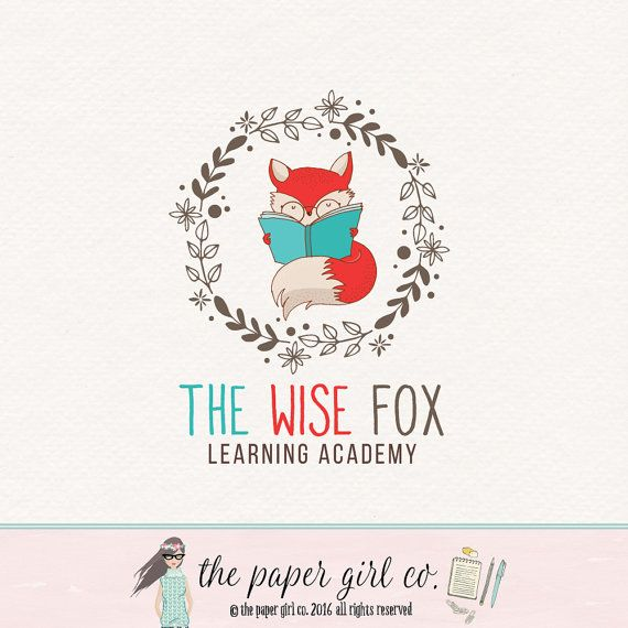 fox logo design kids school logo  woodland logo by ThePaperGirlCo