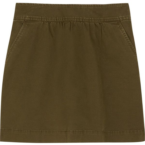 J.Crew Stretch cotton-twill mini skirt ($33) ❤ liked on Polyvore featuring skirts, mini skirts, shirred skirt, short mini skirts, j crew skirts, j crew mini skirt and twill skirt