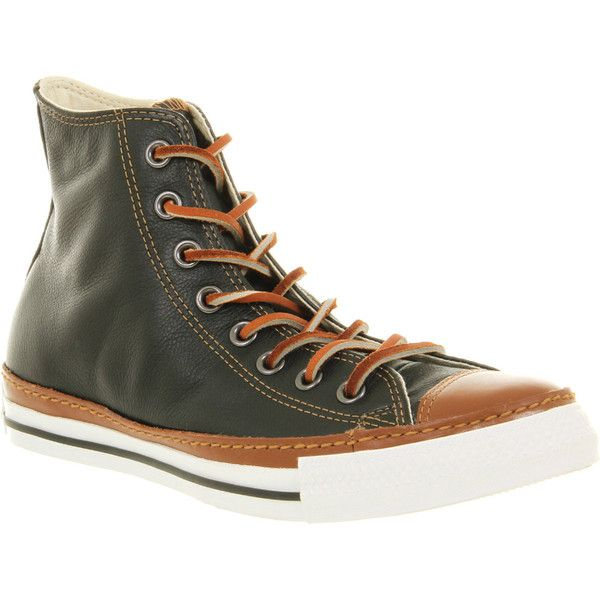 Converse Clean Crafted Hi (€41) ❤ liked on Polyvore featuring shoes, sneakers, black brown, trainers, unisex sports, black leather shoes, black high top sneakers, black sneakers, high top sneakers and converse shoes