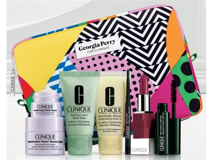 Clinique Gift - Tue, 23 Feb. 2016 - Sun, 13 Mar. 2016. Receive a cosmetics bag designed by Melbourne graphic artist Georgia Perry, Repairwear Laser Focus Night Line Smoothing Cream 15ml, Repairwear Laser Focus Wrinkle Correcting Eye Cream 5ml, new Foaming Sonic Facial Soap 30ml, Dramatically Different Moisturizing Lotion+ 30ml, Clinique Skinny Stick in Slimming Black .028g, new Clinique Pop lip colour & primer in Love Pop .028g & High Impact Mascara in Black 3.5ml with Clinique purchase of…