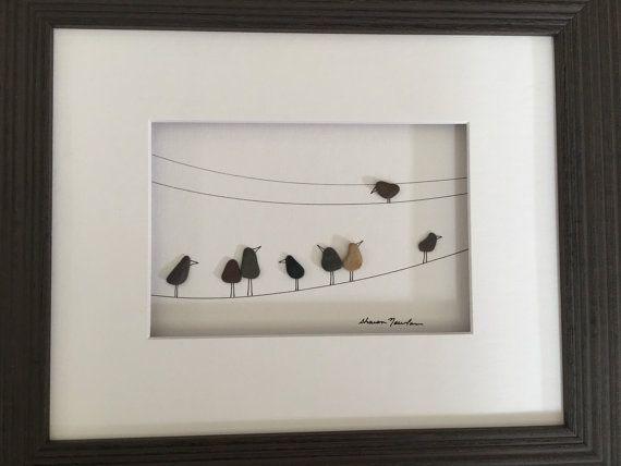 8 da 10 uccelli arte su un filo di ghiaia di arte di di PebbleArt