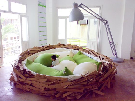 Unusual Kids Bed Room Like Giant Nest with Green Pillow Design .  by image  Unusual Kids Bed Room Like Giant Nest with Green Pillow Design.