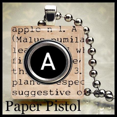 A APPLE Typewriter Scrabble Tile Pendant by PaperPistol on Etsy, $6.95695, Apples Typewriters, Typewriters Scrabble, Tile Pendants, Scrabble Tiles, Paperpistol, Dictionary Typewriters, Bears Dictionary, 6 95