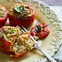 """Stuffed Tomatoes w/ Quinoa, Soft Tofu inspired by 101 Cookbooks """"Super Natural Every Day"""""""