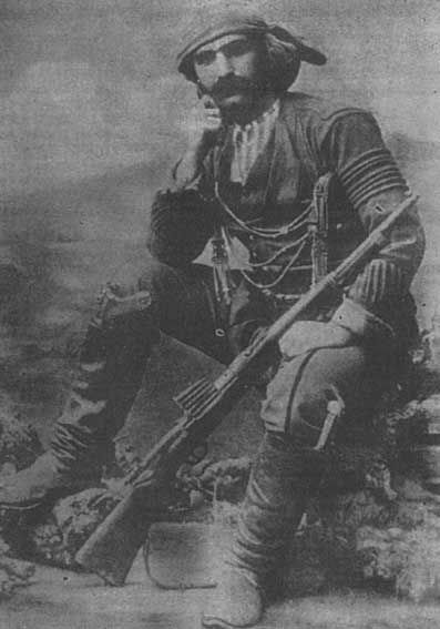 Portrait of a Greek (Pontos) insurgent in 1922.  Costume of the people's…