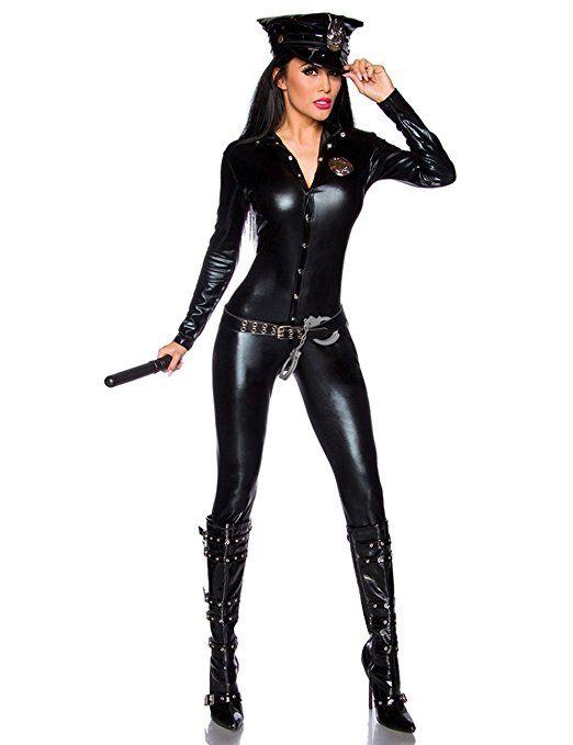 Wetlook Overall Polizistin-Kostüm (6tlg.) - Polizeikostüm mit Mütze,Gürtel,Handschellen - Club Outfit Stripper (13683)