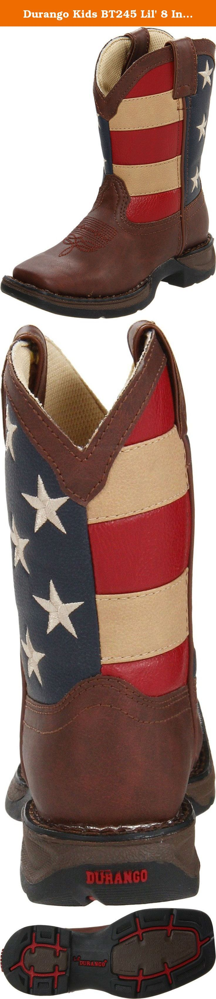 """Durango Kids BT245 Lil' 8 Inch Patriotic. The Durango Lil' Flirt cowboy boots provide extreme quality, comfort, and style for your beginner buckaroo's feet. This children's cowboy boot features a brown manmade leather foot under an 8"""" American flag decorated faux leather shaft. Rolled shank area. Piping details and easy pull-on holes. Soft mesh lining. Single-stitch welt. 1 1/8"""" rocker heel. Imported."""