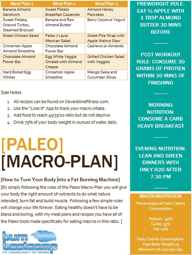 "The Down Low… If you want to build muscle and burn body fat quickly then make sure to follow this plan thoroughly. Let me break it down for you…""PALEO MACRO MEAL PLAN"". Paleo – Stems from the term Paleolithic Era, a time where processed food was not available and our hunter/gatherer ancestors fed off the …"