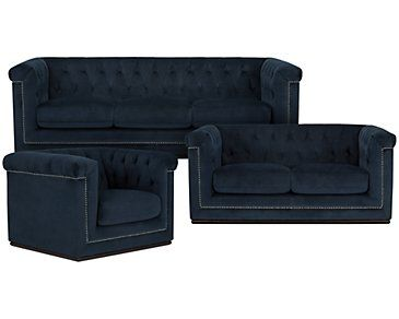 Blair Dark Blue Living Room
