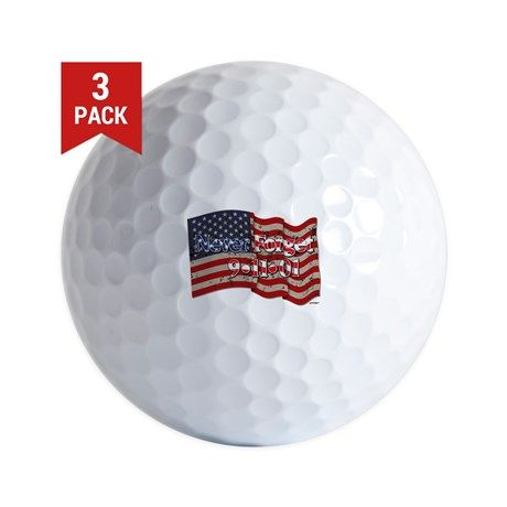 911 Never Forget American Flag Golf Ball    •   This design is available on t-shirts, hats, mugs, buttons, key chains and much more   •   Please check out our others designs at: www.cafepress.com/ZuzusFunHouse