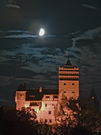 Dracula Castle at Night, Bran Castle, Transylvania, Romania have this poster in my bedroom!