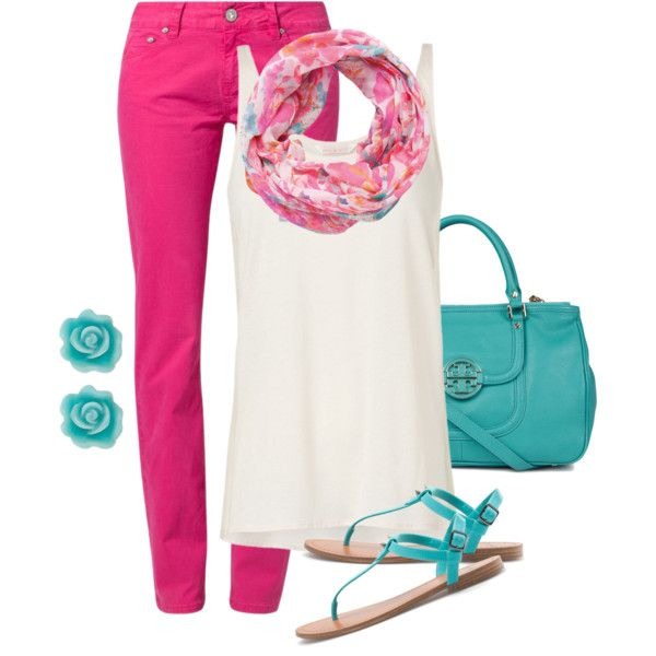I'd probably never be brave enough to try hot pink pants, but still I like it, lol  (turquoise & pink)