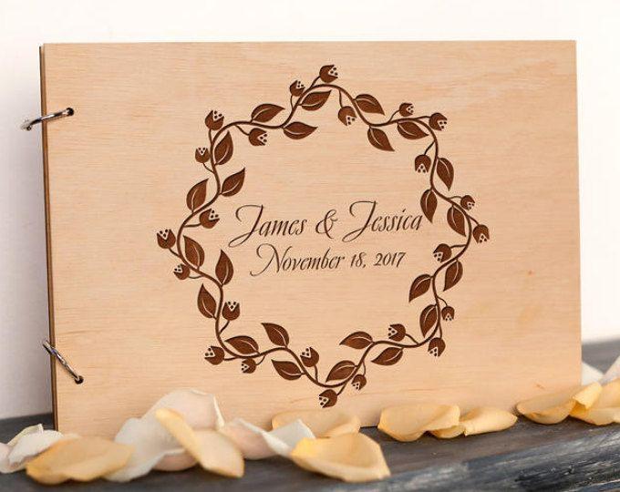 Boda los libro único libro invitado madera rústico libro hoja libro de Visitas florales corona boda libro de visitas nupcial ducha regalo boda revista